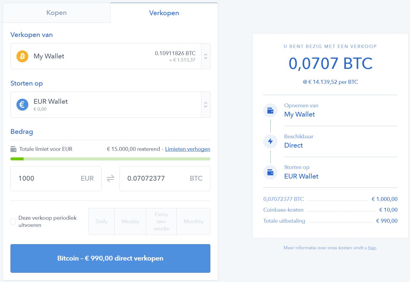 coinbase-verkopen