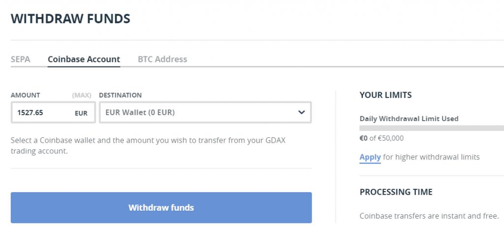 Geld overmaken naar Coinbase vanuit GDAX